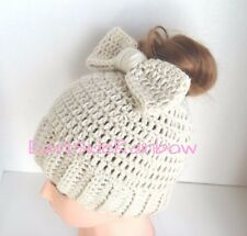 Pick Color Messy Bun Ponytail Hat w/ Bow Handmade Hand Crochet Knit Fall Gift