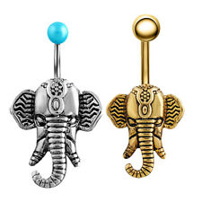 Stylish Elephant Navel Belly Ring Button Bar Barbell Body Piercing Jewelry