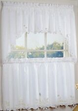 Battenburg Lace Cotton Kitchen Curtains - Tiers, Swags, Valances - White {NEW}