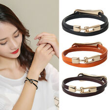 Fashion Punk Gothic Double Wrap Leather Belt Mens Bracelet Wristband Bangle