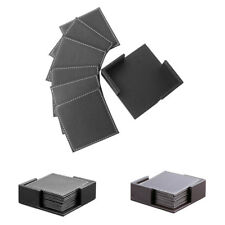 PU Leather Drink Coasters Table Mats with Holder for Cup Glass Tableware