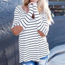 Womens Fashion T-Shirt Striped Long Sleeve Crewneck Casual Top Tee Blouse