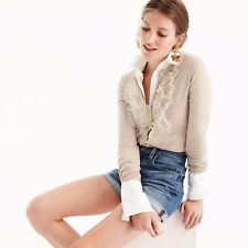 New J.Crew Cotton Jackie cardigan sweater with tulle Heather Sand Small