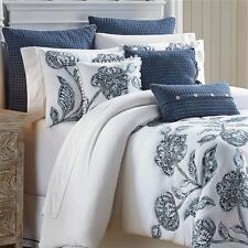 Croscill: Clayra 4 pc Queen & King Comforter Sets; Navy Blue on White w Seafoam
