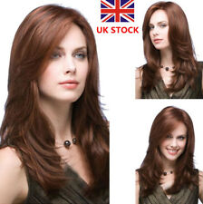 UK Women Medium Hair Dark Brown Middle Long Cropped Straight Cosplay Wig+Wig Cap