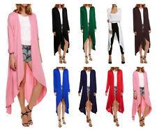 New Ladies Long Sleeve Cardigan Open Front Draped Solid Casual Irregular Hem