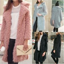 Womens Winter Faux Fur Long Parka Warm Trench Jacket Coat Top Overcoat Outwear