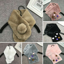 Elegant Winter Women's Warm Comfy Faux Fur Scarves Neckerchief Scarf Pink/White