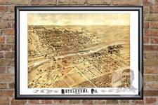 Vintage Bethlehem, PA Map 1878 - Historic Pennsylvania Art Victorian Industrial