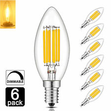4W/6W C35 Vintage Edison LED Bulb Dimmable E12 Base Filament Light Bulb, 6-Pack