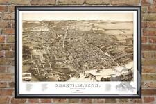 Vintage Knoxville, TN Map 1886 - Historic Tennessee Art Old Victorian Industrial