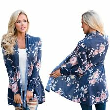 Casual Cardigan Loose Sweater Floral Long Sleeve Womens Outwear Jacket Coat SM