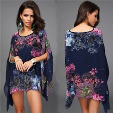 Kaftan Kimono Cover ups  Printed Chiffon Summer Beach Tunic Top Bat wing Floral