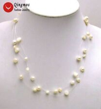 "SALE 4-6mm Natural White Freshwater Baroque Pearl Starriness 18"" Necklace-5120"