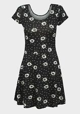 LADIES Summer Skater Dress Black White Floral Daisy - FREE P&P - Size 6 to 18