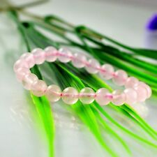 Natural Cute Pink Ice Crystal Round Bead Stone Womens Stretch Bracelet 6 to 12mm