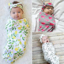 Newborn Infant Baby cute Swaddle Blanket Soft Sleeping Swaddle Wrap Headband new