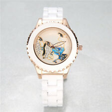 Fashion Casual Women Penguin Design Ladies Quartz White Ceramic Strap Wristwatch