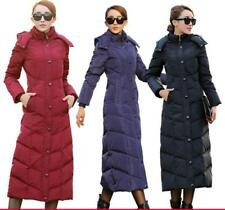 Y Womens Winter Duck Down Jackets Long Knee Length Puffer Hooded Coat Parka Size