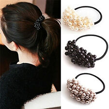 Pearl Acrylic Beads Elastic Hair Accessory Band Ring Rope Ties Ponytail Holder
