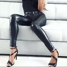 Women's PU Leather Trouser Stretchy Push Up Pencil Pants Skinny Tight Leggings