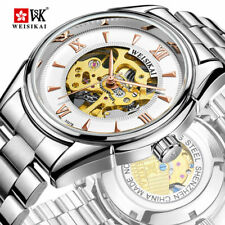 Top Brand Luxury Mens Skeleton Automatic Mechanical Steel Band Hollow Wristwatch