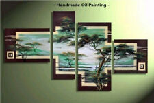 Framed Large Wall Art Modern African scenery Tree Abstract Oil Painting Canvas