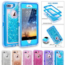 Glitter Bling Flowing Liquid Clear TPU Anti-drop Case Cover For iPhone X 6 7 8