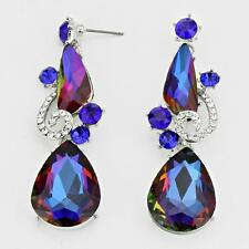 """Lovely Blue Vitral Crystal Silver Tone Unique Chandelier Earrings 2 ½"""""""