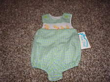 NWT NEW BOUTIQUE BOW PEEP 3M 3 MONTHS GINGHAM DUCK ROMPER BUBBLE SMOCKED