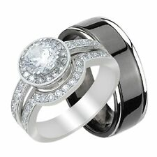His and Hers Bands Trio Matching Wedding Engagement Ring Set