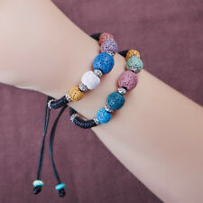 New Fashion Natural Colourful Lava Rock Beads Weave Rope Women Bracelet for Gift