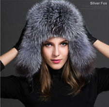 2018 Womens Ladies Real Fox Fur Hat Russian Ushanka Lamb Leather Top Warm Winter