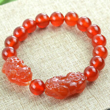 Natural Red Agate Round Beads Stone Double Chinese Dragon Pixiu Bracelet 10mm
