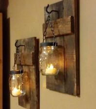 Mason jar hanging candle holder wooden rustic