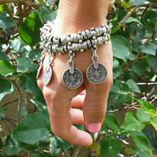 Behomia Jewelry Fashion Cuff Bracelet Anklets Chain with Lucky Carved Coins
