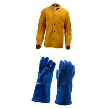 Heavy Duty Leather Welding Jacket and Gloves Heat and Fire Resistance