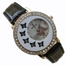 Fashion Butterfly Crystal Leather Women's Lady Dial Analog Quartz Wrist Watch