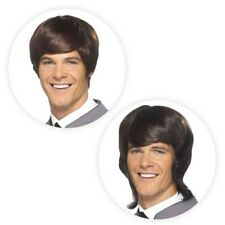 Mens Mod Wig 60s 70s 80s Brown Hairstyle Era Party Retro Fancy Dress Accessory