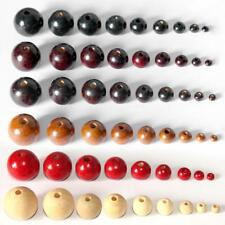 50Pcs Black/Red/Brown Round Wood Spacer Bead Wooden Ball Beads DIY Craft Jewelry