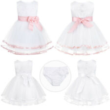 Newbron Baby Girl Princess Dress Flowers Party Birthday Tutu Dress free Bloomers