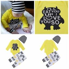 Newborn Baby Boys Girls Outfit Set Letter Printed Romper Long Pants Striped Hat
