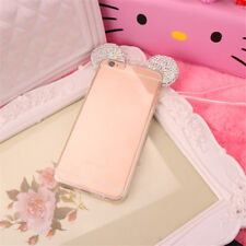 Bling Diamond Mickey Ear Clear TPU Fur/Mirror Case Cover For iPhone 7 Plus 6s 8