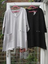KASBAH-BNWT-SLEEVED JACQUARD TUNIC-BLACK OR SILVER-12/14;14/16;16/18;/24/26