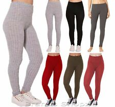 New Womens Ladies Plain Warm Thick Chunky Cable Ladies Ribbed Knitted Leggings