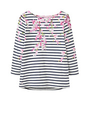 Joules Harbour Print Womens 3/4 Sleeve Jersey Top - Navy Blossom Stripe