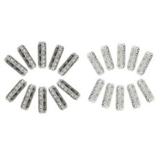 50Pcs Silver 3 Rows Charm Beads Pendant Connector Jewelry Making Crafts DIY