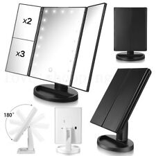 Tri-Fold 21 LED Lighted Cosmetic Vanity Mirror Touch Screen Table Makeup Mirrors
