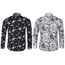 Fashion Mens Floral Slim Fit Shirt Long Sleeve Dress Shirts Casual Shirt Tops