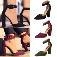 Womens Lady Closed Pointed Toe Sandal High Block Heels Ankle Straps Button Shoes